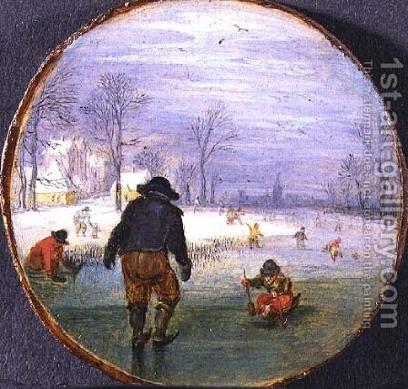 Skaters in a landscape by Adriaen Pietersz. Van De Venne - Reproduction Oil Painting
