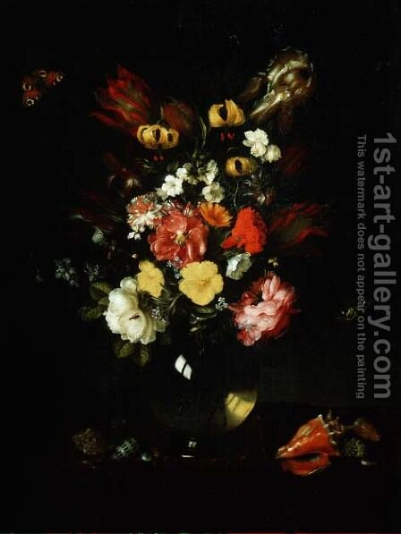 Vase of Flowers by Adriaen Pietersz. Van De Venne - Reproduction Oil Painting