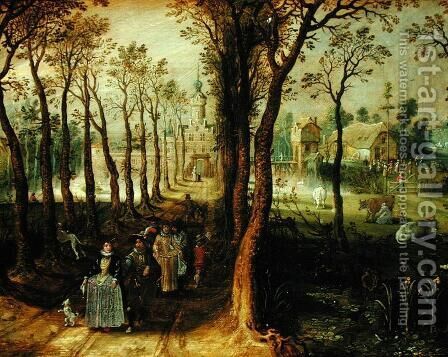 The Castle in the Marsh by Adriaen Pietersz. Van De Venne - Reproduction Oil Painting