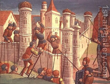 Scene from a battle defending Constantinople, from Ogier le Danois, 1499 by Antoine Verard - Reproduction Oil Painting