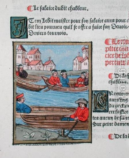 Ferrymen on the River Seine, from Ordonnances Royaux de la Juridiction de la Prevote des Marchands de la Ville de Paris, 1528 2 by Antoine Verard - Reproduction Oil Painting