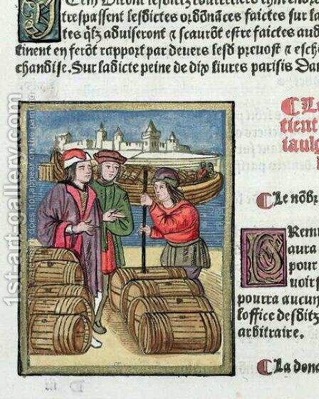 The measure and transport of wine, from Ordonnances Royaux de la Juridiction de la Prevote des Marchands de la Ville de Paris, 1528 by Antoine Verard - Reproduction Oil Painting