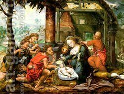 Adoration of the Shepherds by (attr. to) Verbeeck or Verbeecq, Franz - Reproduction Oil Painting