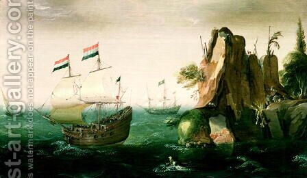 A Dutch Merchant Ship off a Rocky Coast by Cornelis Verbeeck - Reproduction Oil Painting