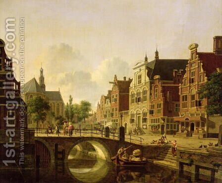 Dutch town scene with canal, figures and a church by Jan Hendrik Verheyen - Reproduction Oil Painting