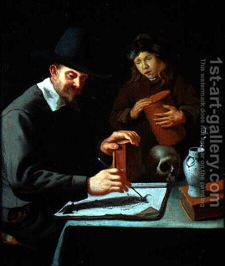 The Painter and his Pupil by Constantin Verhout or Voorhout - Reproduction Oil Painting