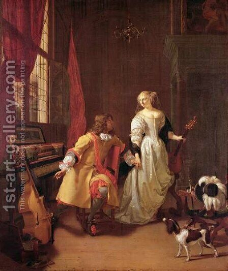 A Musical Interlude by Jan Verkolje - Reproduction Oil Painting