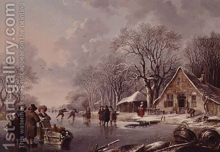 Winter Scene by Andries Vermeulen - Reproduction Oil Painting
