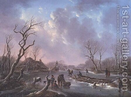Skaters on a frozen river by Andries Vermeulen - Reproduction Oil Painting