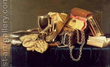 Still Life of a Jewellery Casket, Books and Oysters by Andries Vermeulen - Reproduction Oil Painting