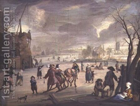 Skating scene by Andries Vermeulen - Reproduction Oil Painting