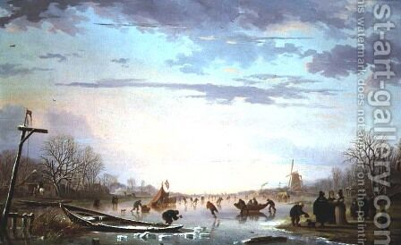 Dutch Peasants on a frozen river by Andries Vermeulen - Reproduction Oil Painting