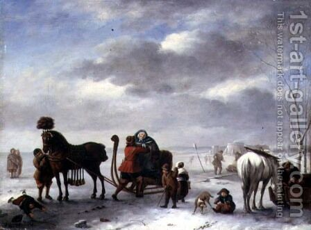 Winter Landscape with a Gentleman Assisting a Lady From a Sleigh by Andries Vermeulen - Reproduction Oil Painting
