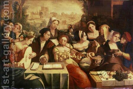 The Prodigal Son Feasting with Harlots by Jan Cornelisz Vermeyen - Reproduction Oil Painting