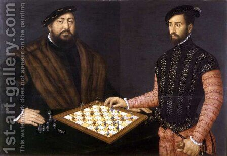 John Frederick the Magnanimous playing chess, 1552 by Jan Cornelisz Vermeyen - Reproduction Oil Painting