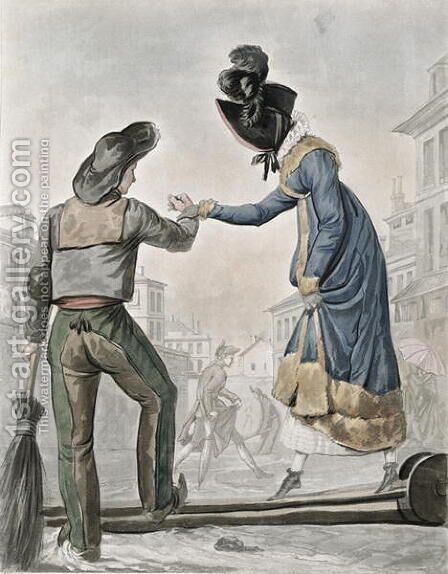 A woman paying a street sweeper to cross a gangplank over a dirty street by Carle Vernet - Reproduction Oil Painting
