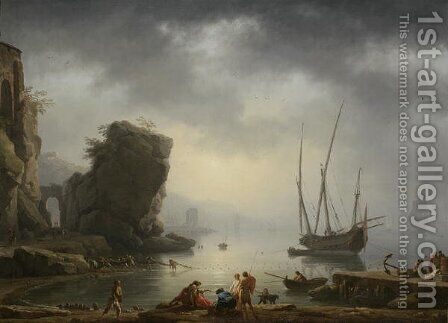 Mediterranean Coastal Scene, 1746 by Carle Vernet - Reproduction Oil Painting