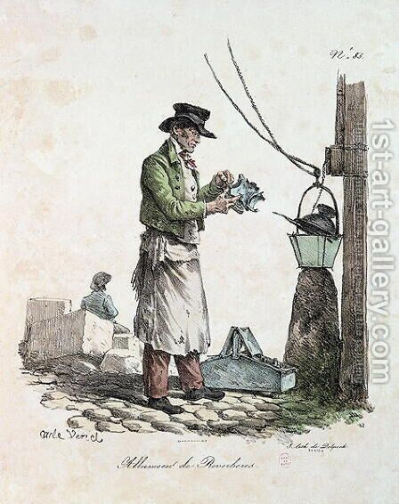 The Lamplighter, engraved by Francois Seraphin Delpech 1778-1825 by Carle Vernet - Reproduction Oil Painting