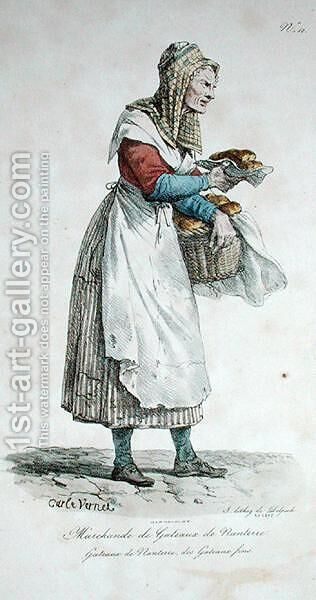 The Nanterre Cake Seller, number 10 from The Cries of Paris series, engraved by Francois Seraphin Delpech 1778-1825 by Carle Vernet - Reproduction Oil Painting