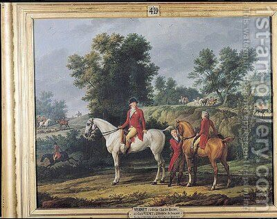 Philippe Egalite 1747-93 Duke of Orleans and his son Louis-Philippe 1773-1850 Duke of Chartres leaving for the Hunt, 1788 by Carle Vernet - Reproduction Oil Painting