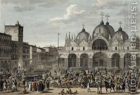 The Entry of the French into Venice in Floreal, Year 5 May 1797 engraved by Jean Duplessi-Bertaux 1747-1819 by Carle Vernet - Reproduction Oil Painting