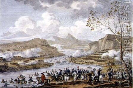 The Battle and Crossing of the Tagliamento, 26 Ventose, Year 5 March 1797 engraved by Jean Duplessi-Bertaux 1747-1819 by Carle Vernet - Reproduction Oil Painting