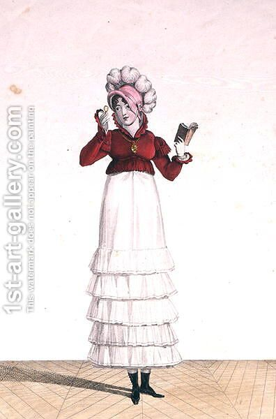 A Lady in a Levantine hat, a tiered skirt and a velvet jacket, plate 6 from the Incroyable et merveilleuse series of fashion plates, engraved by Georges Jacques Gatine 1773-1831 published 1797 in Paris by Carle Vernet - Reproduction Oil Painting
