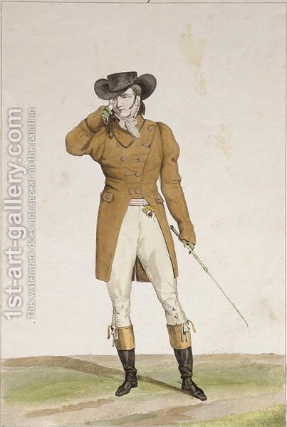 A Dandy dressed in a boat-shaped hat, a dun-coloured jacket and buckskin breeches, plate 1 from the Incroyable et merveilleuses series of fashion plates, engraved by Georges Jacques Gatine 1773-1831 published 1797 in Paris by Carle Vernet - Reproduction Oil Painting