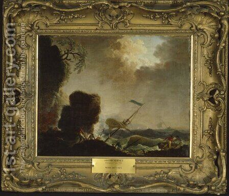Storm and Wreck, c.1740 by Claude-joseph Vernet - Reproduction Oil Painting