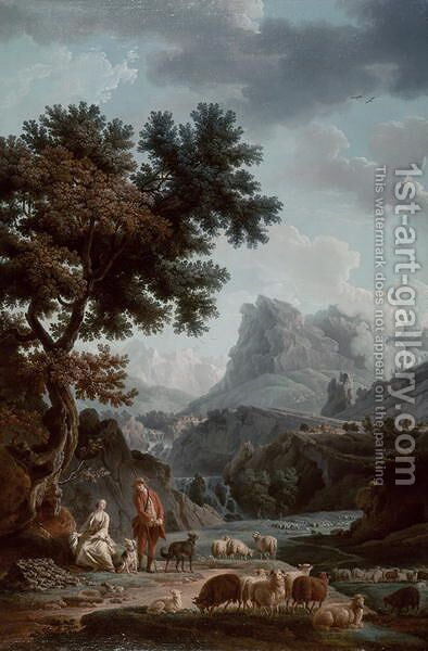The Alpine Shepherdess by Claude-joseph Vernet - Reproduction Oil Painting