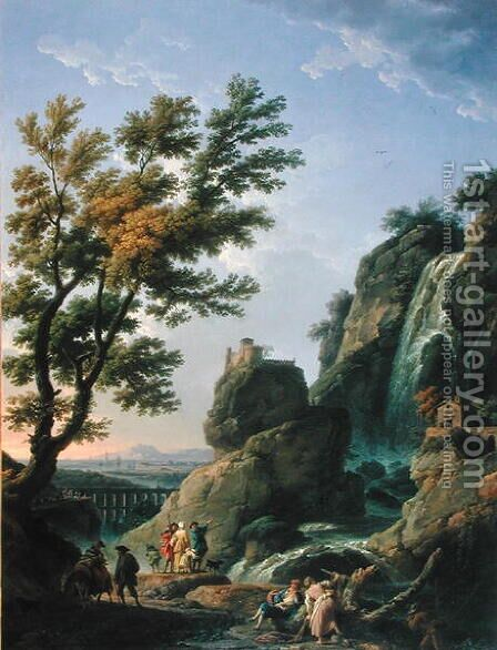 Landscape with Waterfall and Figures, 1768 by Claude-joseph Vernet - Reproduction Oil Painting