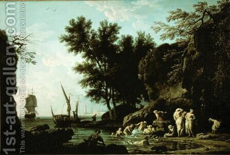 Nymphs bathing in the morning by Claude-joseph Vernet - Reproduction Oil Painting