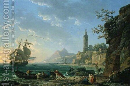 A Coastal Mediterranean Landscape with a Dutch Merchantman in a Bay, 1769 by Claude-joseph Vernet - Reproduction Oil Painting
