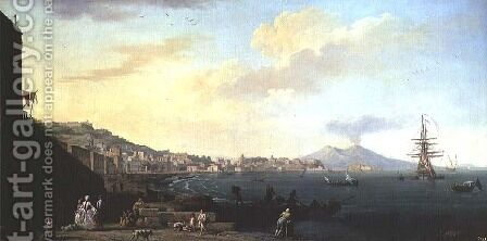 View of Naples with Vesuvius in the Background by Claude-joseph Vernet - Reproduction Oil Painting