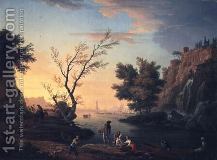 Seaport at Sunset, 1751 by Claude-joseph Vernet - Reproduction Oil Painting