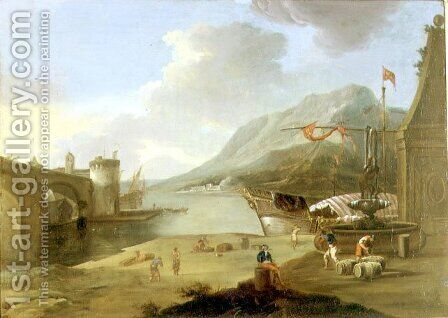 Unloading Galleys in the Straits of Mycenae by Claude-joseph Vernet - Reproduction Oil Painting
