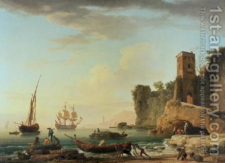 The Port of Genoa by Claude-joseph Vernet - Reproduction Oil Painting