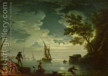 Seascape, Moonlight, 1772 by Claude-joseph Vernet - Reproduction Oil Painting