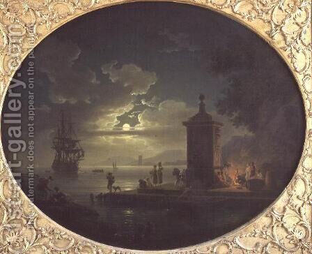 Night A Moonlit coastal landscape with Fisherfolk by a fire on a Quay, a Man of War beyond by Claude-joseph Vernet - Reproduction Oil Painting