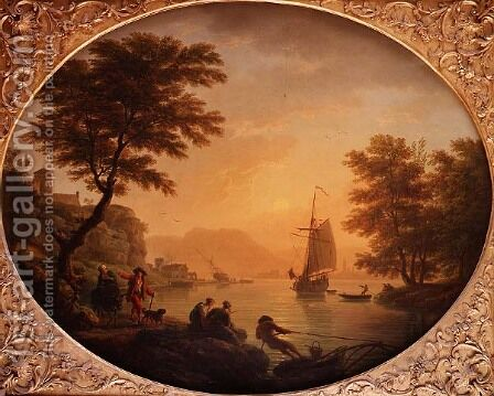 Day  An Italianate rocky inlet with fisherfolk by Claude-joseph Vernet - Reproduction Oil Painting