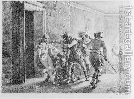 The Assassination of Wallenstein , lithograph by Gottfried Engelmann by Horace Vernet - Reproduction Oil Painting