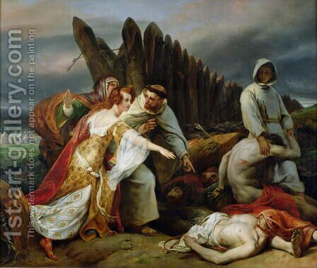 Edith Finding the Body of Harold, 1828 by Horace Vernet - Reproduction Oil Painting