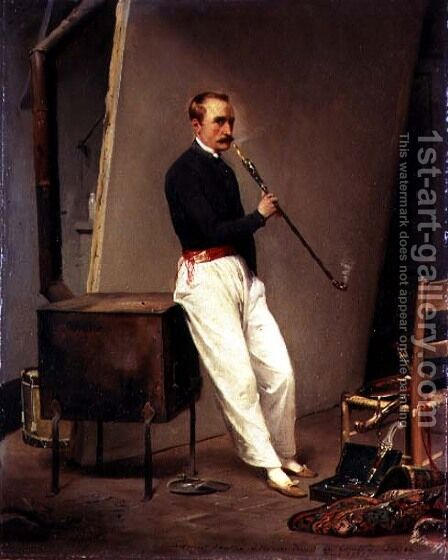 Self Portrait, 1835 by Horace Vernet - Reproduction Oil Painting