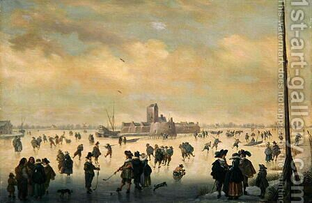 Skating Scene by Antoni Verstralen (van Stralen) - Reproduction Oil Painting