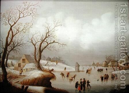 Winter Landscape with Figures Skating by Antoni Verstralen (van Stralen) - Reproduction Oil Painting