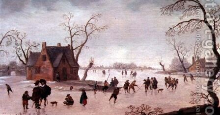 Winter Scene by Antoni Verstralen (van Stralen) - Reproduction Oil Painting