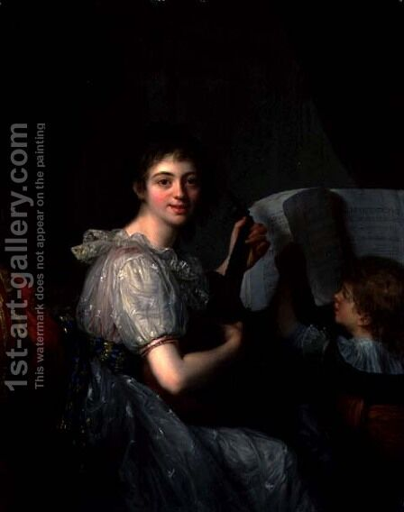 Allegory of Music, 1788 by Antoine Vestier - Reproduction Oil Painting