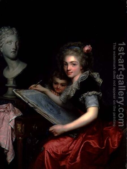 Allegory of Drawing, 1788 by Antoine Vestier - Reproduction Oil Painting