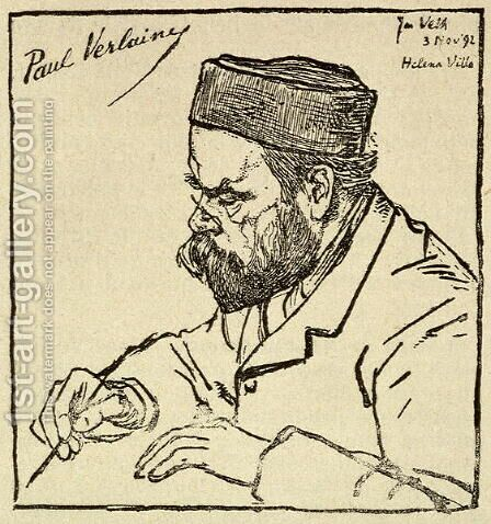 Paul Verlaine 1844-96 from La Plume, 1892 by Jan Pieter Veth - Reproduction Oil Painting