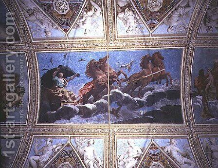 The Personification of Night riding across the sky in a chariot, ceiling painting by Antonio Maria Viani - Reproduction Oil Painting